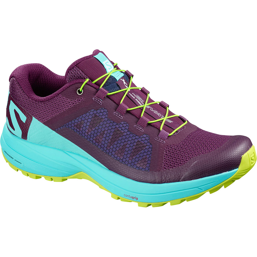 b1698986 Salomon XA Elevate Running Shoes Dark Purple / Blue Curacao / Acid Lime  Women