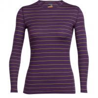 Oasis Long Sleeve Crewe Stripe  Funktionsshirt Lang Eggplant / Sulfur Damen