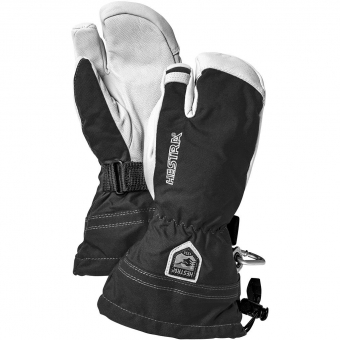 Hestra Army Leather Heli Ski 3-Finger  Glove Black Kids