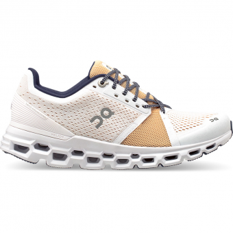 ON Cloudstratus  Runningschuh White / Almond Damen