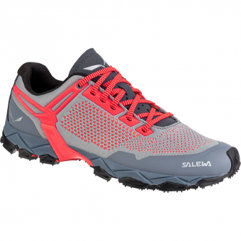 Salewa Lite Train Knitted  Approachschuh Blue Fog / Fluo Coral Damen
