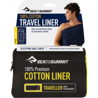 Sea To Summit Cotton Liner Traveller   Hüttenschlafsack Navy