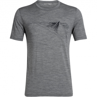 Icebreaker Tech Lite SS Crewe Peak In Reach  T-Shirt Gritstone HTHR Men