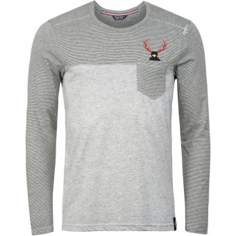 Chillaz Street Hirschkrah  Longsleeve Grey Melange / Black Men