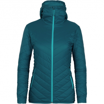 TIEFSCHNEETAGE TESTED ITEM  Icebreaker Hyperia Hooded  Insulation Jacket Kingfisher / Arctic Teal Women