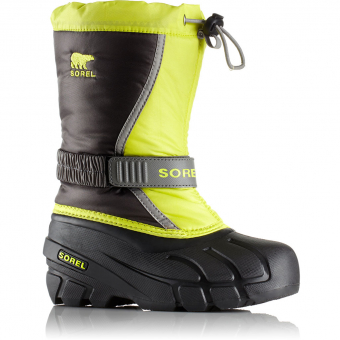Sorel Flurry™ Winter Boots Dark Grey / Warning Yellow Kids