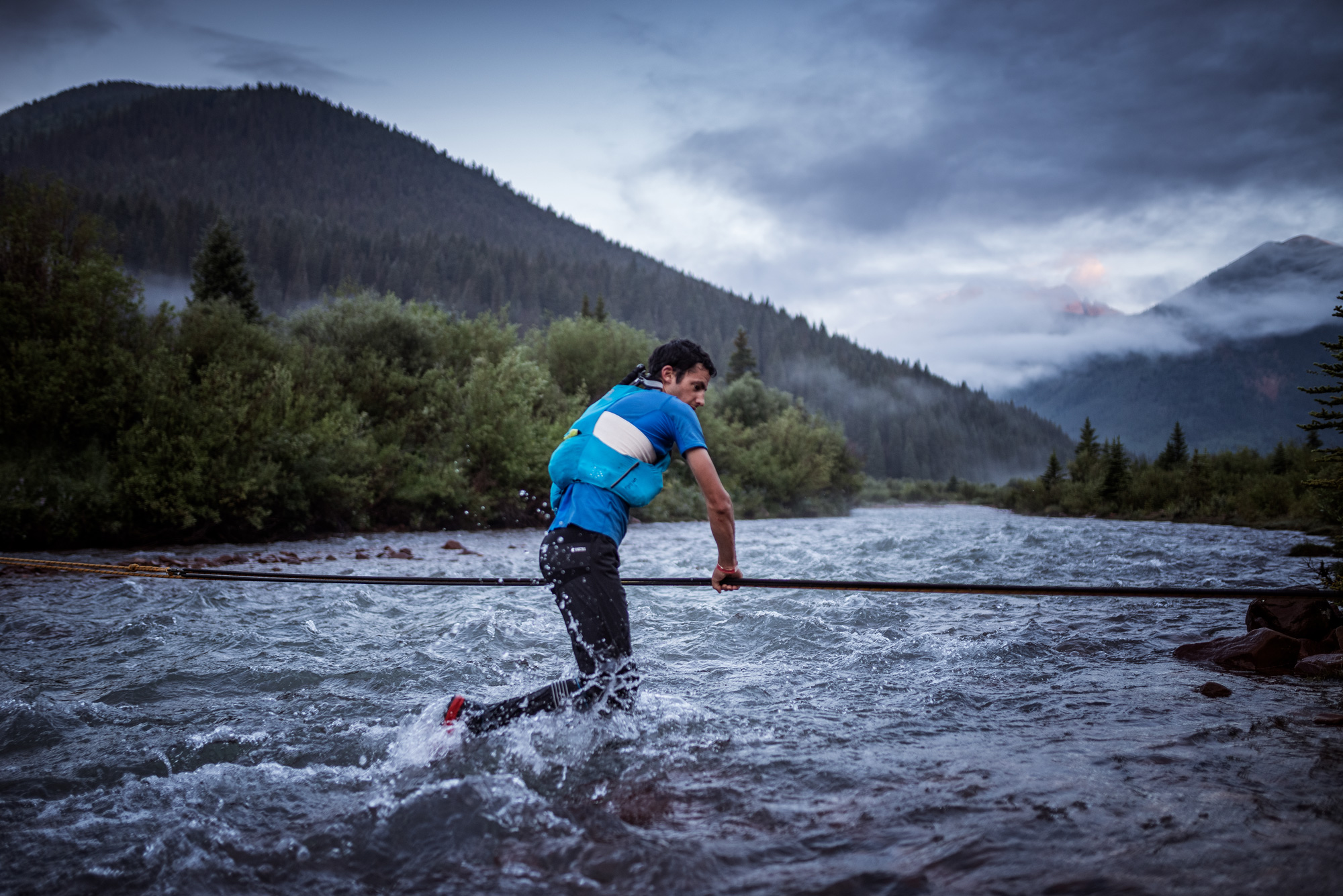 Crossing rivers with a running backpack