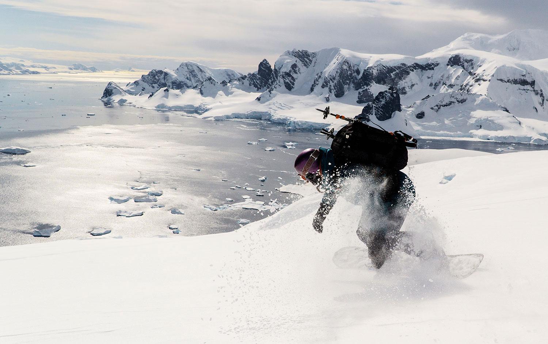Snowboarden in der Antarktis